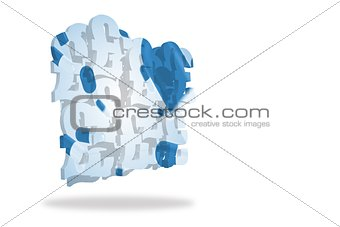 Blue balloons on abstract screen