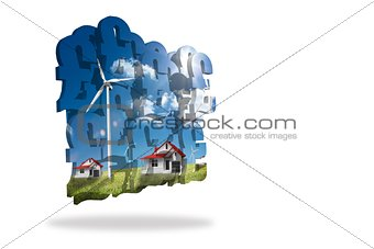 Houses with wind turbines on abstract screen