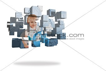Baby genius on abstract screen