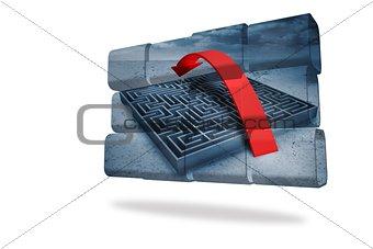 Arrow over maze on abstract screen
