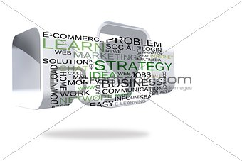 Business buzzwords on abstract screen