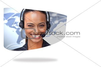 Call centre agent on abstract screen