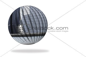 Cityscape on abstract screen