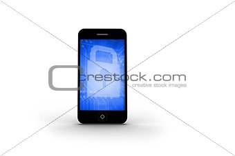 Blue lock on smartphone screen