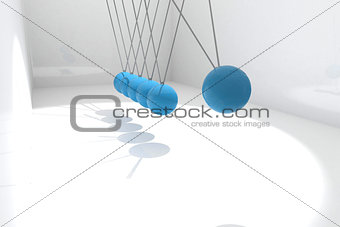Blue newtons cradle