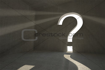 Grey room with question mark door