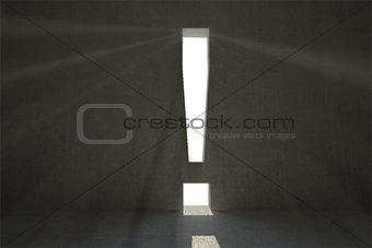 Grey room with exclamation mark door