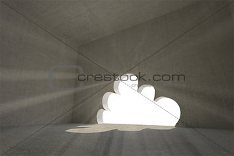 Grey room with cloud door