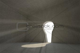 Grey room with keyhole door