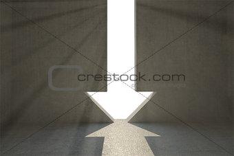 Grey room with arrow door