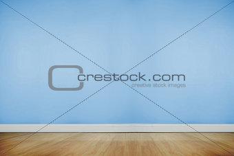 Blue room with wooden floor
