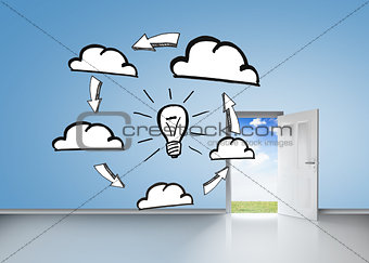 Brainstorm on blue wall with open door
