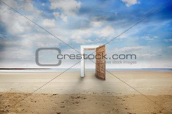 Open door on a beach