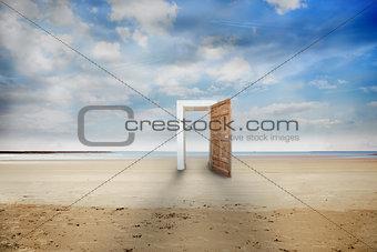 Open door on a beach