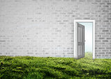 Open door on wall on grass
