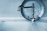 faucet of blue color