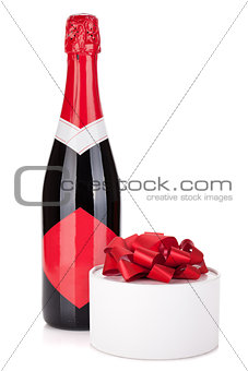 Champagne bottle and gift