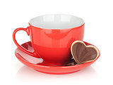 Red coffee cup and chocolate cookies