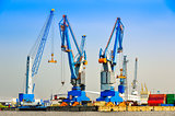 Large industrial cargo cranes in the harbor