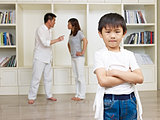 asian boy and quarreling parents