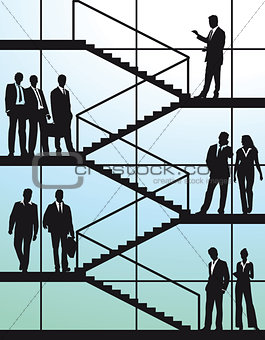 Business people on the stairs