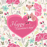 Floral valentines day card with cute little fox
