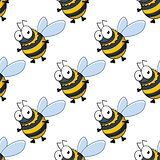 Seamless pattern of fat little honey bees