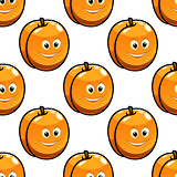Seamless pattern apricot with happy smiling faces