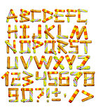 Alphabet with letters from wooden boards
