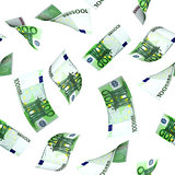 Seamless background with flying euro banknotes
