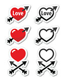 Hearts with arrow, love, valentine's day black and red icons set