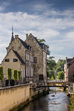 Canal and old house in the center of Valkenburg