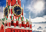 Spasskaya tower with clock. Russia, Red square, Moscow