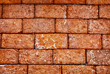 Wall of old red brick close up - background