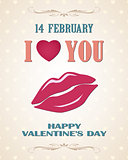 Happy Valentines day retro poster with lips