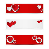 Set of card headers or banners with hearts