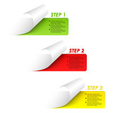 Set of colorful sample steps stickers
