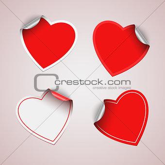 Valentine red heart stickers