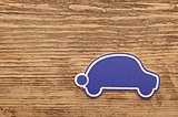 model car on wooden background. space for your text