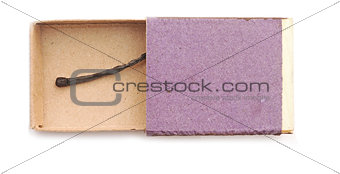 Matchbox and burnt match isolated on white background