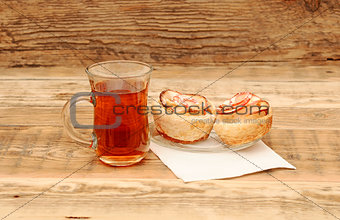 Apple cakes with cup of tea like flower