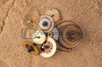 clockwork mechanism on the sand
