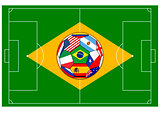 football field with ball - Brazil 2014