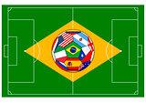 football field with ball - Brazil 2014