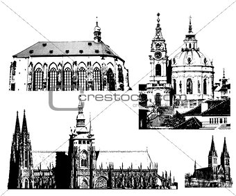 vector famous landmarks of Prague