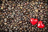 Two hearts on the coffee background