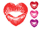 red heart lips, vector set