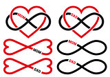 hearts with infinity sign for mom, dad, vector set