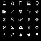 Science icons with reflect on black background