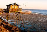 fishing house with fishing net, Gironde Department, Aquitaine, F
